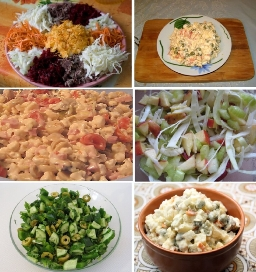Показать рецепты салатов и их приготовление